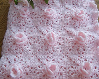 New Crocheted Pretty-In-Pink Roses Baby Afghan