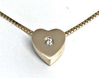 Heart Pendant with Diamond
