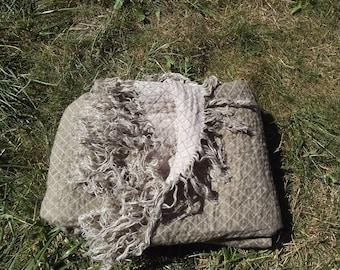 Reversible linen blanket. Beige and Off-white Blanket. Two sided blanket Beach blanket. Linen bed cover. Throw blanket.