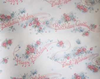 Vintage Wrapping Paper - Musical Birthday - One Sheet Gift Wrap - Hallmark
