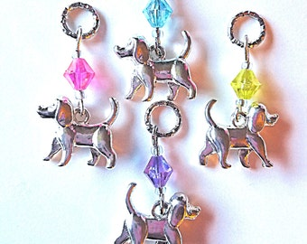 Hearing Aid Charms:  Silver Plated Puppy Dogs with glass accent beadd! Also available in matching mother/daughter sets!!