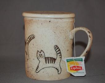 Cat Tea Mug - Hand Painted & kiln fired.
