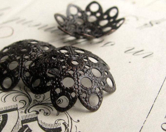 18mm domed, scalloped filigree bead cap - (4) dark antiqued brass bead caps, black bead cap, large bead cap, aged patina, pierced  BC-ET-030