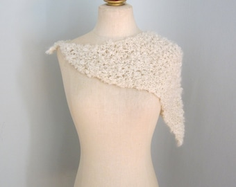 Creme Scarf, Creme Shawl, Head Scarf, Chunky Knit Scarf, Hand Knit Scarf, Winter Scarf, Knit Wrap, Creme Knit Wrap, Off White Scarf, Shawl