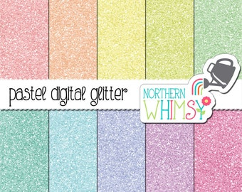 Pastel Glitter Digital Paper Pack – glitter backgrounds in pastel colors for digital scrapbooking – glitter texture – commercial use