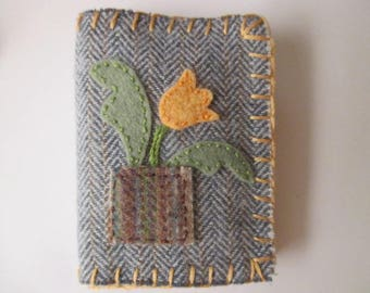 Wool Needle Book/Homemade Wool Fabric and Wool Felt Needle Holder/Peach Flower in a Pot