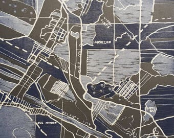 """Abstract, multiple color woodcut, map, square, """"Boardwalk"""", print"""