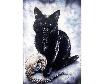 Dream Kitten Magnet: Watercolour Sandman Black Cat