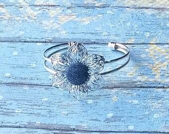 Denim Flower Bangle Bracelet