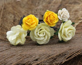 Yellow,Green,Mulberry Paper Flower, Hair Pins , Bridal Hair Pins, Hair Bobby Pins,U pins,Prom,Bridal Hair Accessories (FL212)