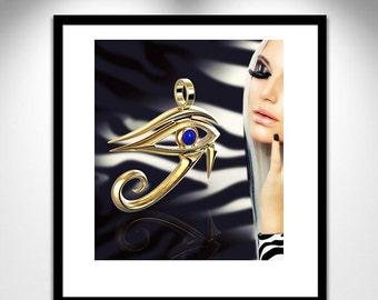 Horus Sculpture Eye 18 K jewelry _ eye Horus gold 18K _ Sculpture jewelry