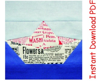 Origami boat,  paper pieced quilt block, newspaper,  PDF Pattern INSTANT DOWNLOAD, boat paper piecing quilt  pattern