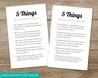 Instant Download 5 Things Template Microsoft Word • Fun Facts About Bride and Groom • Printable DIY Digital File Wedding Engagement His Hers