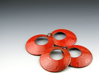 Enameled Domed  Hoops  /  Orient Red Enamel  / Made to Order