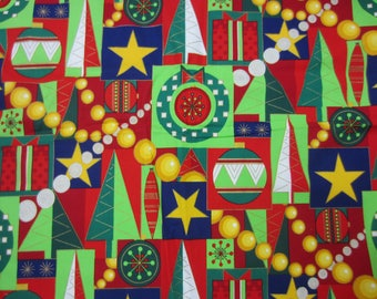 Christmas Fabric 3+ Yards 100% Cotton Cool Yule Alexander Henry Collection Colorful Contrast Trees Stars Garlands Gifts Red Green White Blue