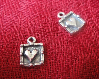 925 sterling silver oxidized heart charm pendant 1 pc., silver heart charm, heart