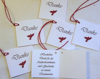 20 Cards Thank you Communion punched with string, Bordeaux Red Dove Handmade
