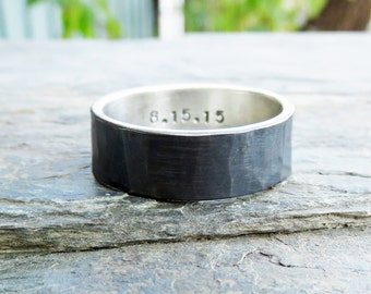 Rustic Wide Hammered Sterling Silver Wedding Band with Personalized Inscription - 8mm Flat Band Ring in Blackened, Matte, or Polished Finish