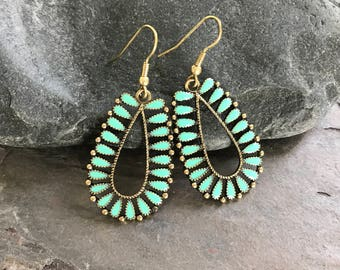 Boho Turquoise Earrings Enamel Accents with Brass Earwires, Rustic Tribal Earrings