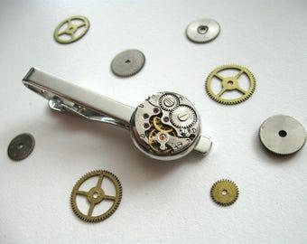 Tie clip Men's Steampunk accessories Watch movement Tie Clip Steampunk Style Men's Gifts Men jewelry Jewelry for him Steampunk office