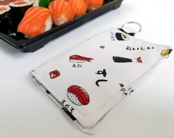 Sushi Card Holder made with Poly Outdoor Fabric, Water Resistant, Credit Card Holder, Business Card Holder, Card Wallet, Card Booklet, Case