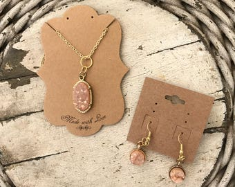 Gold and Blush Stone Necklace and Earrings set
