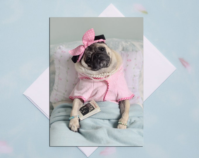BLANK Card - Weekend Plans - All Occasion PUG Greeting Card- Pug Gift - Pugs and Kisses - 5x7