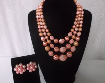 Vintage Mid Century Pink Beaded Japan Jewelry Set, Demi Parure 1950s Pink Triple Strand Necklace and Clip Earrings, Original Card