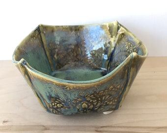 NEW: Green and Blue Ceramic Bowl / Folded Serving Bowl / Modern Salad Bowl / White Stoneware Bowl / In Stock Ready to Ship