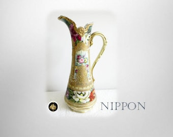 Nippon hand painted vintage ewer with heavy giold and beading