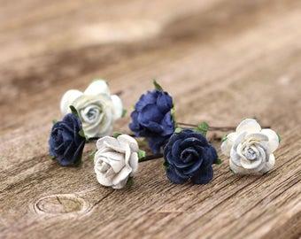 Navy Blue Small Hair Flowers, Navy Flower Bobby Pins, Wedding Hair Picks, Wedding Headpiece, Crown Flower, Bobby Pins, Light Blue Hair Piece