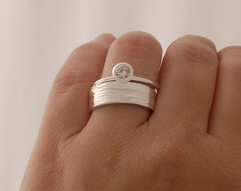 Sterling Silver Engagement Ring, Zircon Engagement Ring, Matching Wedding Band Set, BD32z