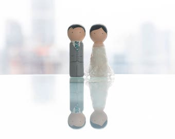 Bride & Groom Cake Topper • Wooden Dolls • Customized • Wedding Decorations