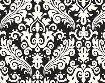 Cream Damask On Black Home Decor Riley Blake Cotton Fabric by the Yard