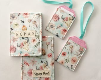 Passport Cover, Passport Wallet, Passport Holder, Gypsy Soul or Nomad, Boho Travel Style, Add a Luggage Tag