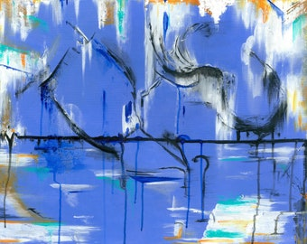 """Abstract Giclée Print from Original Acrylic Painting. Periwinkle, White, Black. """"Melted Notions"""""""