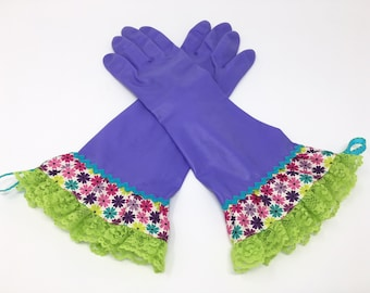 Fancy Latex Free Cleaning Gloves. Size Medium and Large. Purple Kitchen Dishwashing Gloves. Colorful Flowers and Lace. Housewarming Gift.