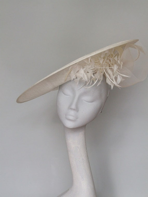 Ivory Disc Fascinator Kentucky Derby Hat   Mother Of Bride Hat   Wedding Hat    Royal Ascot Hat   Derby Hat   Ladies Day Hat by Etsy