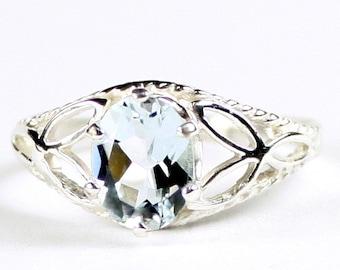 Aquamarine, 925 Sterling Silver Ring, SR137