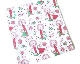 Vintage Wrapping Paper - Tis the Season - Seasonal Gift Wrap - One Full Sheet - Children with Candles