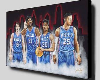 Philadelphia 76ers - Joel Embiid - Markelle Fultz - Ben Simmons - Trust The Process - 76ers Art Print - Sixers - Man Cave - Canvas Print