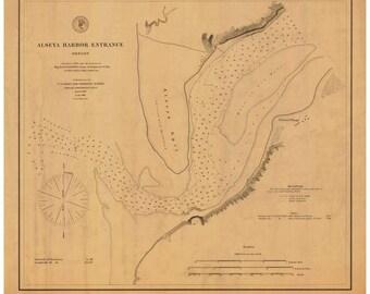 Alseya Harbor Entrance 1880  Nautical Map, Oregon PC Harbors Reprint 691