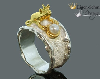 """Frogring """" frogking with pearl """", in 925er sterling silver with a partial gold-plating, frogking, silverring, pearl, christmas, crown, ring"""