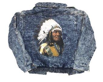 Vintage Acid Wash jacket - Denim Jacket - Native American - 90's jacket - 80's jacket - Vintage Denim - Acid Wash Jacket - large logo