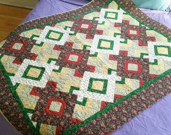 Hidden wells quilt lap quilt, throw blanket, machine quilted