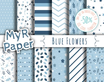 "Blue digital paper: ""Blue Flowers"" pack of backgrounds with flowers, leaves, stars and hearts"