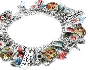 Sewing Jewelry, Seamstress Jewelry, Sewing Bracelet, Sewing Machine Charms, Seamtress Charms