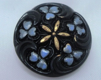 Czech Glass Button 23mm - hand painted - black, blue, gold (B23052)