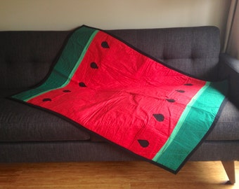 Handmade Baby Quilt  - Watermelon Quilt - Coral Baby Quilt - Modern Baby Quilt - Handmade Quilts - Handmade Baby Blanket - Nursery Blanket