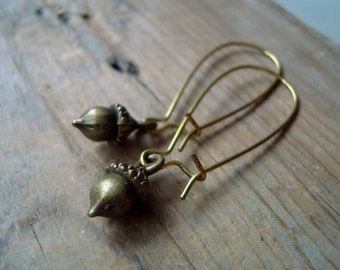 Brass Acorn Earrings Nature Inspired Whimsical Woodland Simple Gifts Under 20 Squirrel Fun Jewelry Rustic Gifts For Her